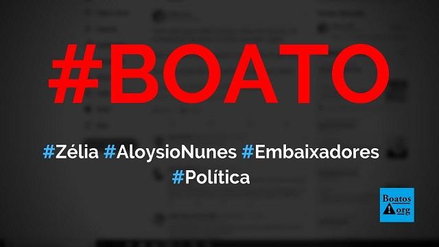 Zélia Cardoso de Mello e Aloysio Nunes foram embaixadores nos EUA, diz boato (Foto: Reprodução/Facebook)