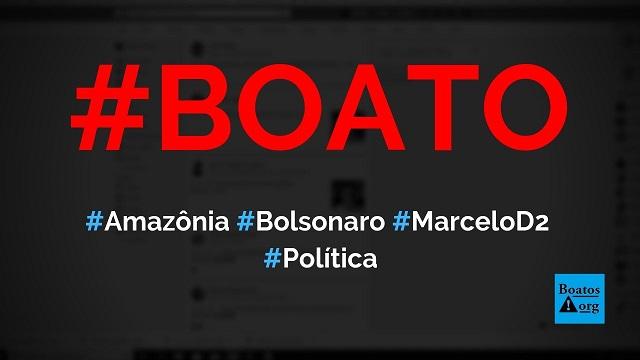 Bolsonaro culpa Marcelo D2 por incêndio e fumaça na Amazônia, diz boato (Foto: Reprodução/Facebook)