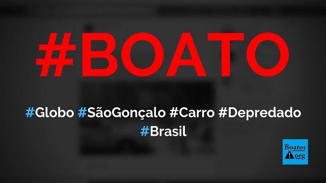 Carro da Globo foi depredado ontem (2019) em São Conrado (Rio de Janeiro), diz boato (Foto: Reprodução/Facebook)