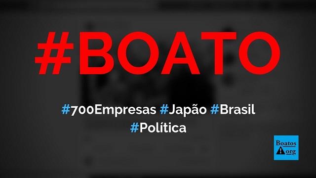 700 empresas querem investir no Brasil por causa de Bolsonaro, diz boato (Foto: Reprodução/Facebook)