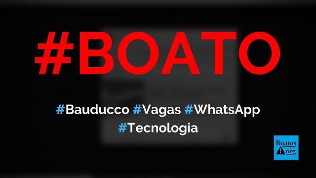 Bauducco abre vagas para temporada de final do ano em site no WhatsApp, diz boato (Foto: Reprodução/Facebook)