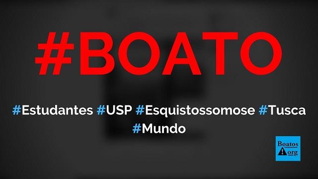 Estudantes da USP contraem esquistossomose após nadarem na lama do Tusca, diz boato (Foto: Reprodução/Facebook)