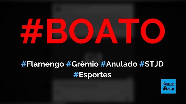 Jogo entre Flamengo e Grêmio pela Libertadores foi anulado pelo STJD, diz boato (Foto: Reprodução/Facebook)
