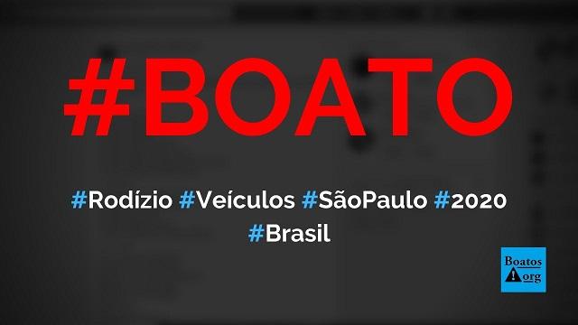 Ampliação do rodízio de veículos em São Paulo em 2020 vai incluir diversas avenidas, diz boato (Foto: Reprodução/Facebook)