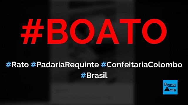 Rato é encontrado em pizza na Confeitaria Colombo (ou Padaria Requinte), no Brasil, diz boato (Foto: Reprodução/Facebook)