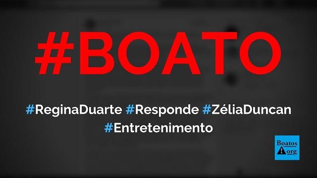 Regina Duarte responde a críticas feitas por Zélia Duncan em vídeo, diz boato (Foto: Reprodução/Facebook)