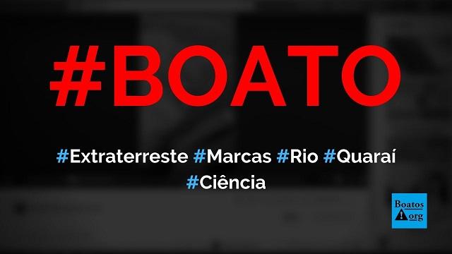Extraterrestres deixam marcas no rio Quaraí, na divisa entre Brasil e Uruguai, diz boato (Foto: Reprodução/Facebook)