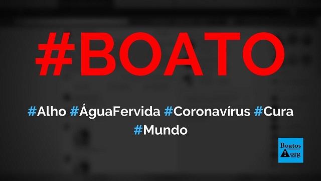Alho com água fervida cura o novo coronavírus, diz boato (Foto: Reprodução/Facebook)