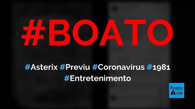 Asterix previu a chegada do coronavírus em livro de 1981, diz boato (Foto: Reprodução/Facebook)