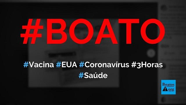EUA anunciou vacina da Roche Medical Company que cura o coronavírus em três horas, diz boato (Foto: Reprodução/Facebook)