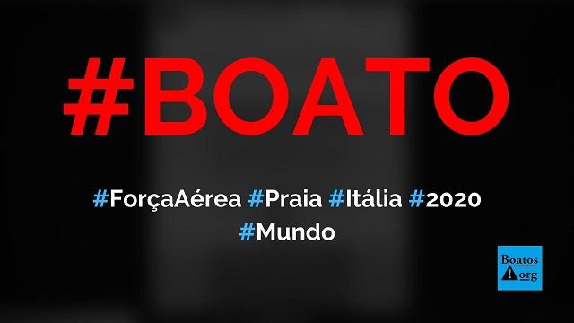 Força Aérea Italiana se apresenta em praia na Itália ao som de Pavarotti em 2020, diz boato (Foto: Reprodução/Facebook)
