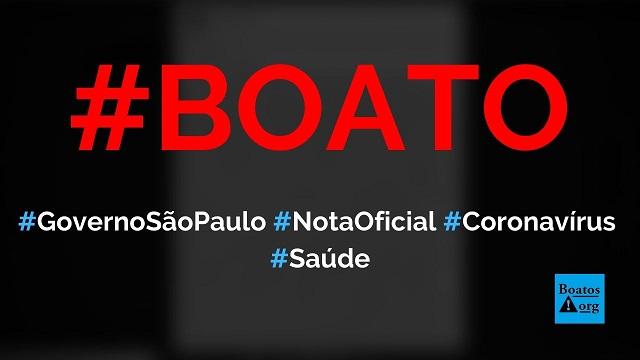 Nota oficial do governo de São Paulo dá dicas sobre Covid-19 (coronavírus) e fala sobre fechamento de fronteiras, diz boato (Foto: Reprodução/Facebook)