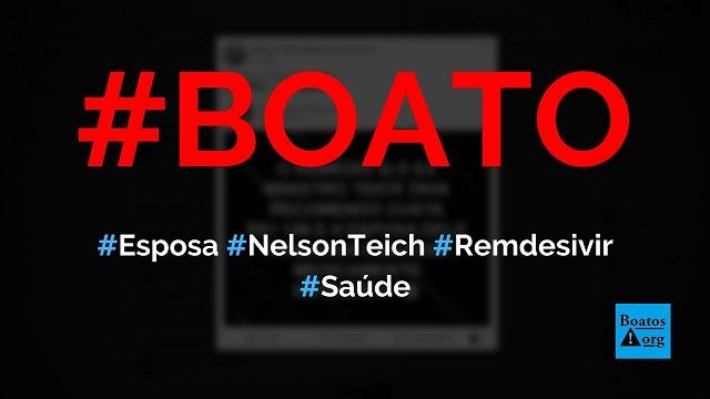 Esposa do ex-ministro Nelson Teich é representante do Remdesivir no Brasil, diz boato (Foto: Reprodução/Facebook)