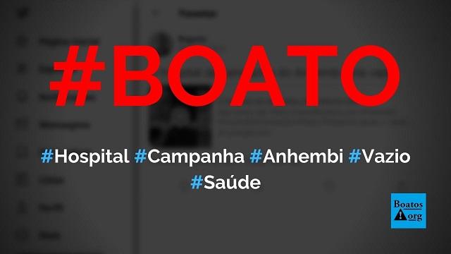 Hospital de campanha do Anhembi, em São Paulo, está vazio e sem pacientes, diz boato (Foto: Reprodução/Twitter)