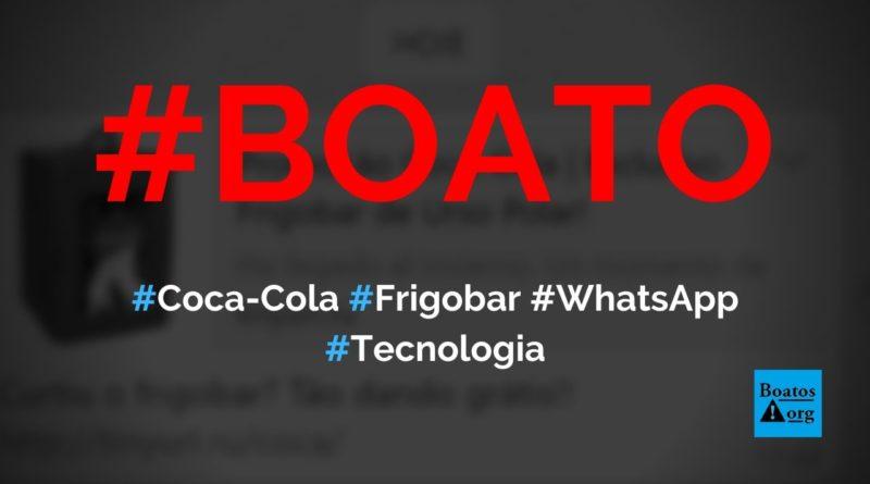 Coca-Cola está dando frigobar para quem entrar em site e compartilhar link no WhatsApp, diz boato (Foto: Reprodução/Facebook)