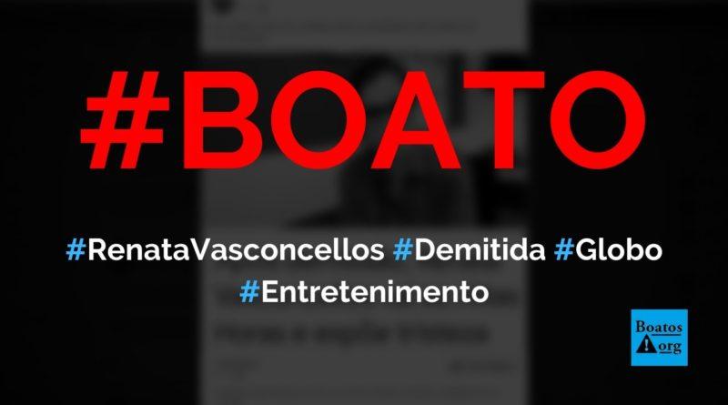 """Renata Vasconcellos foi demitida da Globo antes de """"expor tristeza"""" no Altas Horas, diz boato (Foto: Reprodução/Facebook)"""