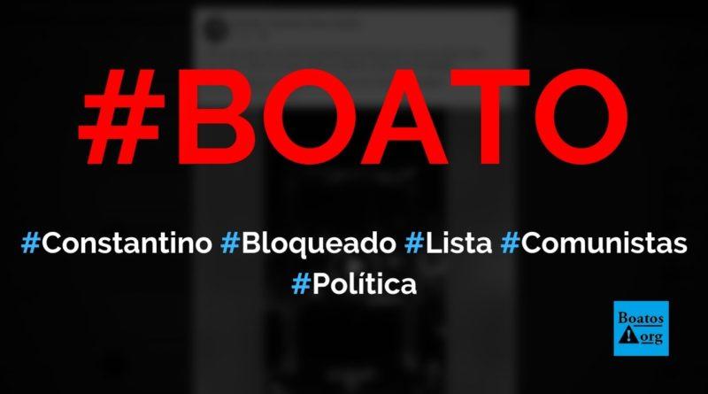 Rodrigo Constantino acabou de ser bloqueado por 7 dias no Facebook e publicou lista de comunistas, diz boato (Foto: Reprodução/Facebook)