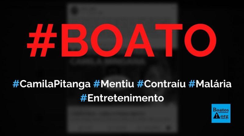 Camila Pitanga mentiu que pegou malária só para poder tomar cloroquina contra Covid-19, diz boato (Foto: Reprodução/Facebook)