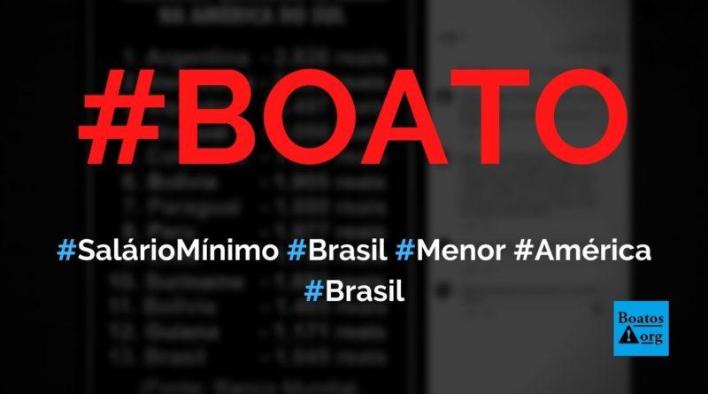 Brasil tem o menor salário mínimo da América do Sul e Argentina tem o maior, diz boato (Foto: Reprodução/Facebook)