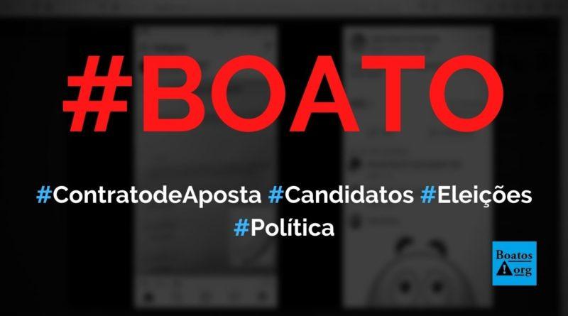 Foto mostra contrato de aposta entre candidatos nas eleições 2020, diz boato (Foto: Reprodução/Facebook)
