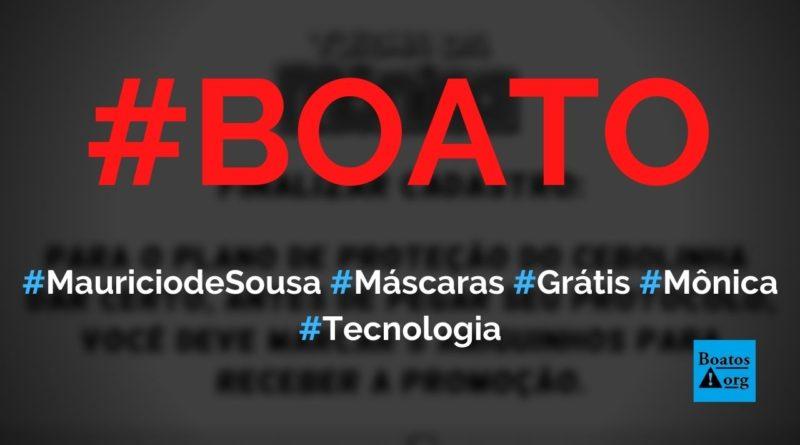 Instituto Mauricio de Sousa dá máscaras da Turma da Mônica em site no WhatsApp, diz boato (Foto: Reprodução/Facebook)