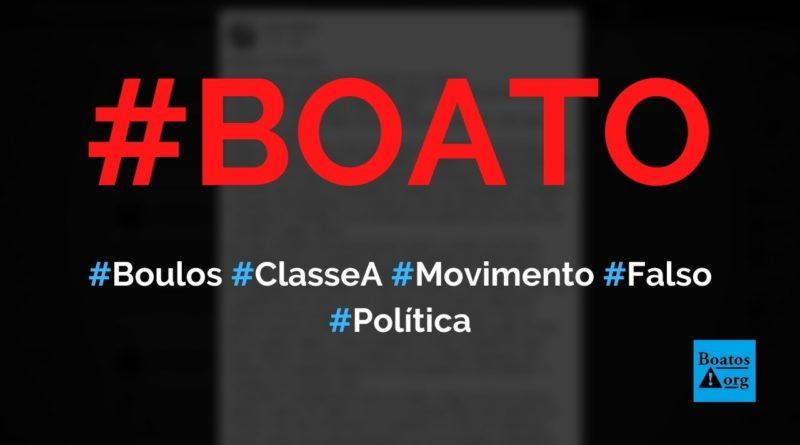 Boulos é da classe A, estudou nos EUA e criou movimento falso, diz boato (Foto: Reprodução/Facebook)