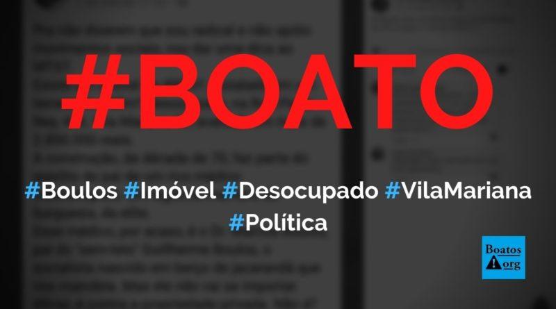 Guilherme Boulos tem imóvel desocupado na Vila Mariana que vale R$ 2,8 milhões, diz boato (Foto: Reprodução/Facebook)