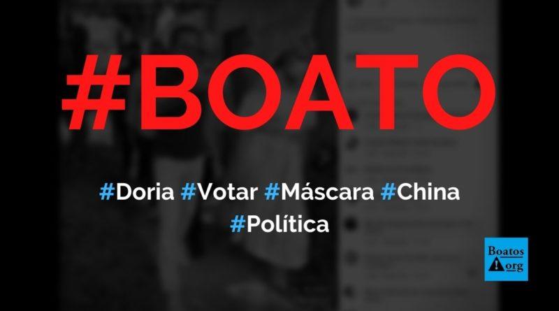 João Doria usou máscara com as cores da China para votar, diz boato (Foto: Reprodução/Facebook)