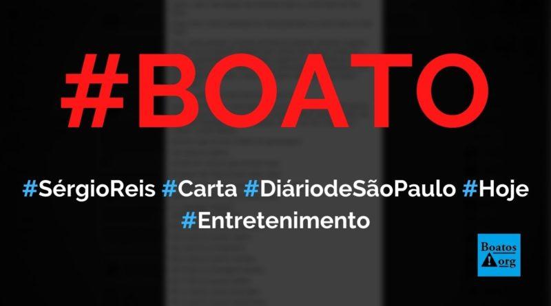 Sérgio Reis escreveu carta sobre Ditadura no Diário de São Paulo hoje, diz boato (Foto: Reprodução/Facebook)