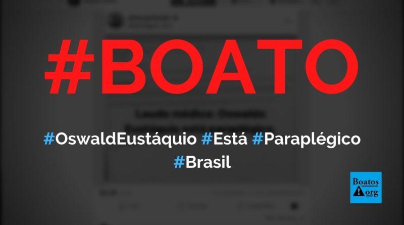Oswaldo Eustáquio está paraplégico após cair na prisão, diz boato (Foto: Reprodução/Facebook)