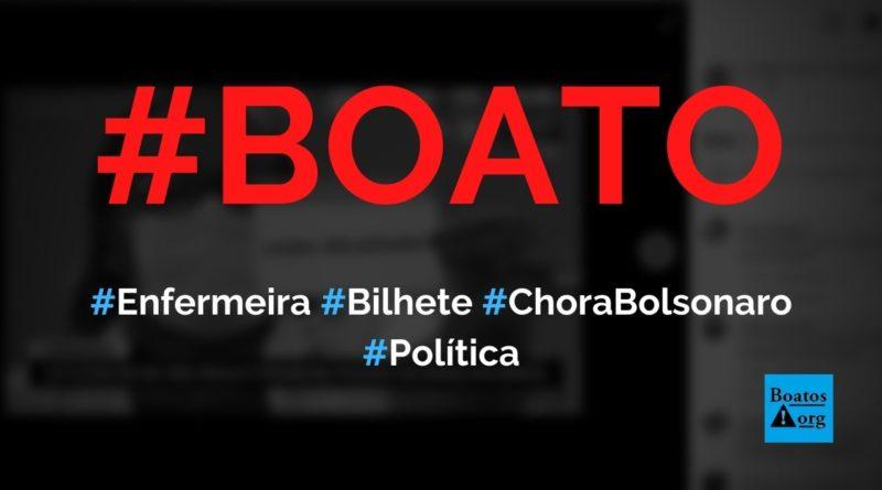 """Enfermeira que tomou vacina mostrou bilhete """"Chora Bolsonaro"""", diz boato (Foto: Reprodução/Facebook)"""