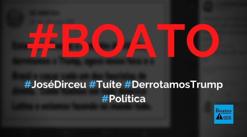 José Dirceu diz estamos trilhando o caminho da vitória, derrotamos Trump no Twitter, diz boato (Foto: Reprodução/Facebook)