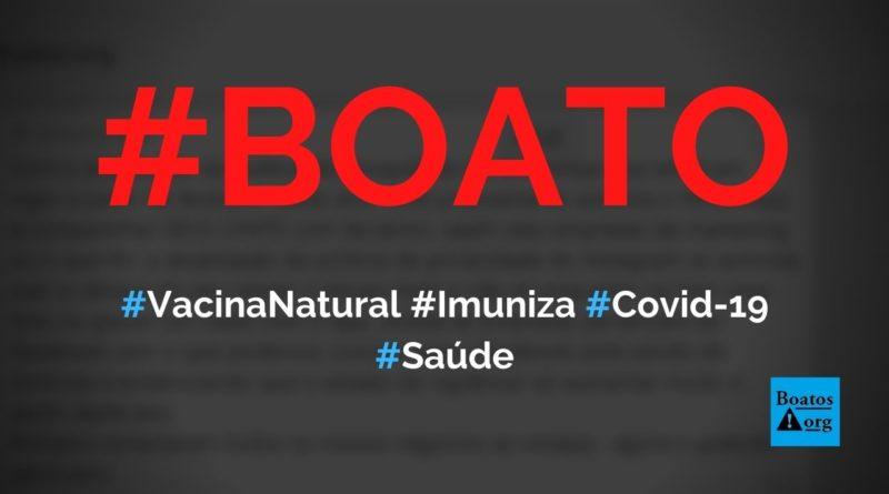 Vacina natural do organismo imuniza contra Covid-19, diz boato (Foto: Reprodução/Facebook)