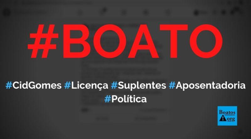 Cid Gomes se licenciou para suplentes se aposentarem como senador, diz boato (Foto: Reprodução/Facebook)