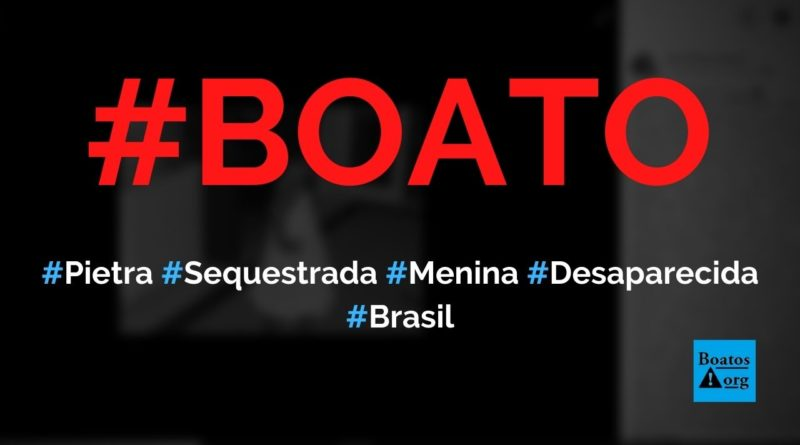 Menina Pietra foi sequestrada na Praia do Engenho e está desaparecida, diz boato (Foto: Reprodução/Facebook)