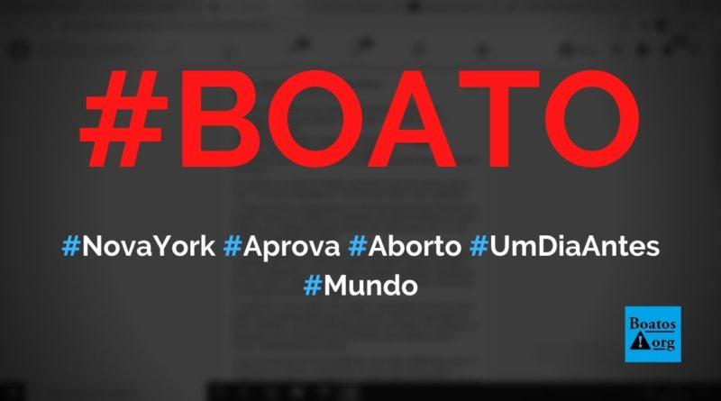 Nova York acabou de aprovar aborto até um dia antes do nascimento, diz boato (Foto: Reprodução/Facebook)