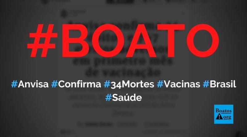 Anvisa confirma que 34 pessoas morreram por causa de vacinas contra Covid-19, diz boato (Foto: Reprodução/Facebook)