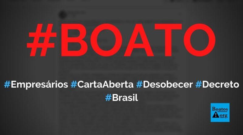 Empresários de Belo Horizonte, Juiz de Fora, Viçosa, Curitiba e Fortaleza escrevem carta aberta pregando desobediência ao lockdown, diz boato (Foto: Reprodução/Facebook)
