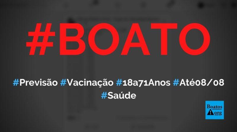 Previsão de vacinação para Covid-19 do Ministério da Saúde até 0808 é divulgada, diz boato (Foto: Reprodução/Facebook)