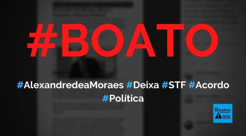 Alexandre de Moraes deixa o Supremo Tribunal Federal (STF) e vai para Helsinque, diz boato (Foto: Reprodução/Facebook)