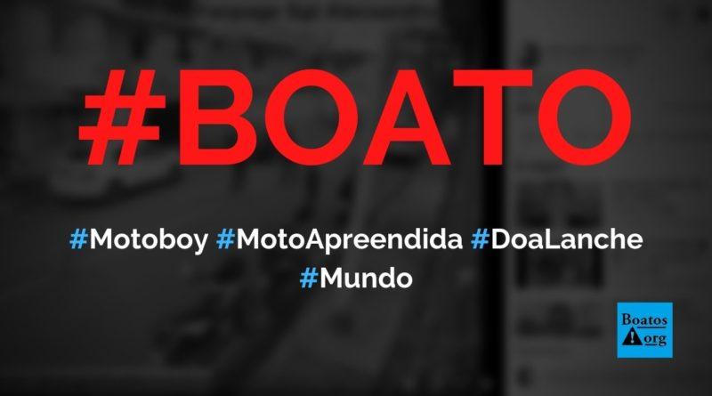 Motoboy tem moto apreendida e resolve doar lanche a menino que catava comida no lixo, diz boato (Foto: Reprodução/Facebook)