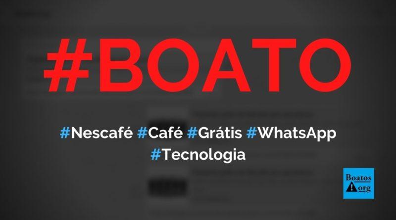 Nescafé dá café Gold Blend grátis para quem compartilhar link no WhatsApp, diz boato (Foto: Reprodução/Facebook)