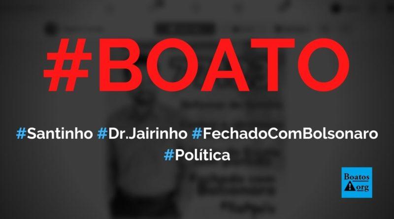 """Santinho de Dr. Jairinho tinha dizeres """"fechado com Bolsonaro"""" e """"defensor da família"""", diz boato (Foto: Reprodução/Facebook)"""