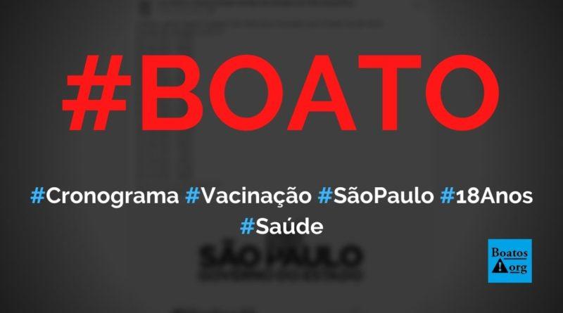 Previsão de vacinação em São Paulo acelerou e calendário até 18 anos é divulgado, diz boato (Foto: Reprodução/Facebook)