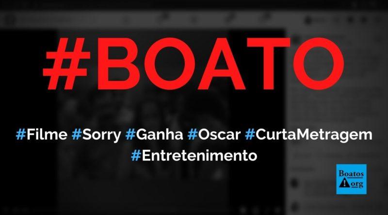 Filme Sorry, de 1m58 e gravado em elevador, ganhou o Oscar de curta-metragem, diz boato (Foto: Reprodução/Facebook)