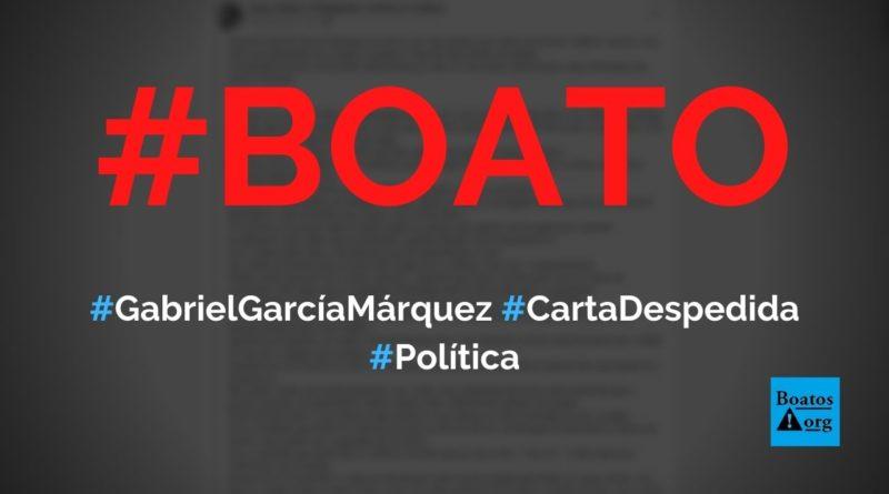 Gabriel García Márquez escreveu carta de despedida quando descobriu câncer linfático, diz boato (Foto: Reprodução/Facebook)