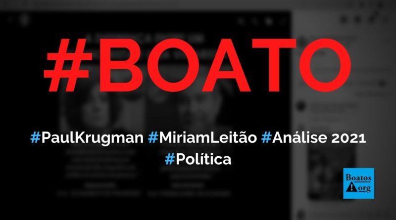 Paul Krugman disse, em 2021, que Brasil saiu muito bem da crise e contrariou Miriam Leitão, diz boato (Foto: Reprodução/Facebook)