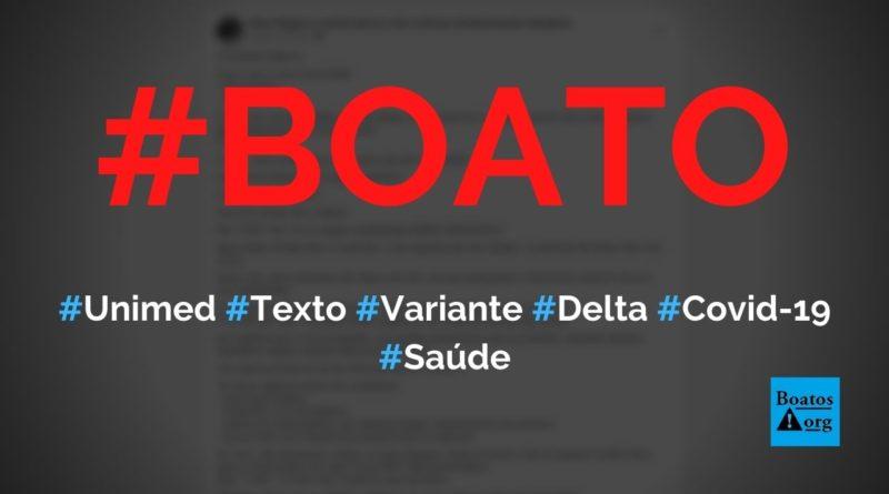 """Unimed alerta que """"Covid Delta"""" não tem tosse e febre como sintomas, diz boato (Foto: Reprodução/Facebook)"""