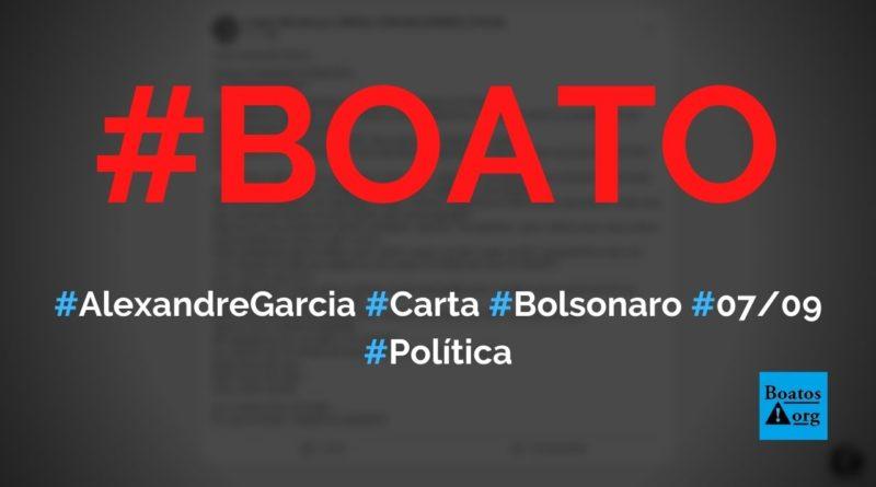 """Alexandre Garcia escreve carta a Bolsonaro em que """"autoriza"""" fechamento do STF e Congresso, diz boato (Foto: Reprodução/Facebook)"""