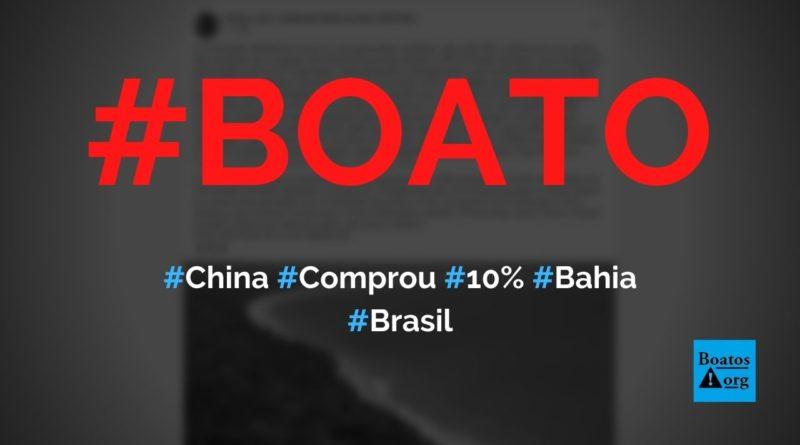 Chineses compraram 10% da área da Bahia para construir China Tow Bahia, diz boato (Foto: Reprodução/Facebook)
